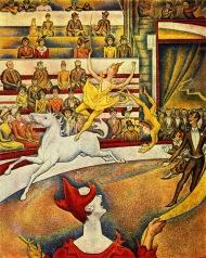 """Circo Medrano (""""El circo"""", 1891, Georges Seurat)."""