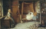 """""""El niño enfermo"""" (finales del siglo XIX), óleo de Karl Kung. Bien hubiera podido ser Roque el niño y muy parecida la estancia en que habitaba la familia de Samuel."""