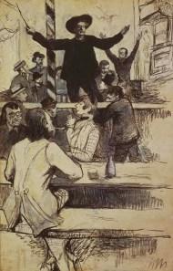 """""""Le refrain de la chaise Louis XIII au cabaret d'Aristide Bruant"""" (1886), dibujo de Toulouse-Lautrec."""