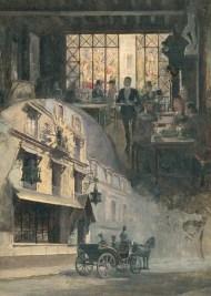 """""""Le cabaret du Chat Noir"""" (s.f.), óleo de M. Balda."""