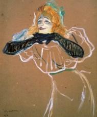 Yvette Guilbert (1894) cuando actuaba en el Divan, óleo sobre cartón de Toulouse-Lautrec.