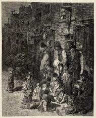 """East End. Una calle del distrito de Whitechapel. Grabado de Gustave Doré para el libro """"London: A Pilgrimage"""" (1872)."""
