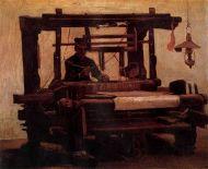 """""""Tejedor en un telar"""" (1884), óleo de Vincent Van Gogh, que refleja fielmente el trabajo de los tejedores en sus casas, rasgo común al proceso de industrialización."""