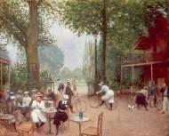"""Bosque de Boulogne. """"Le chalet du cycle au Bois de Boulogne"""" (1899), óleo de Jean Béraud."""