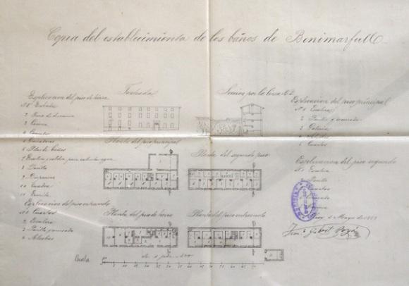 Plano original de los baños de Benimarfull.