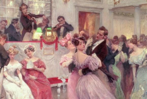 """""""Joseph Lanner y Johann Strauss"""", 1906, óleo de Charles Wilda. Bien podría ser el baile entre Anita y Samuel y que se describe en la novela."""