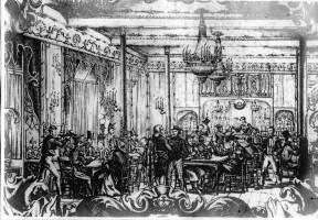 Café de las Siete Puertas. Grabado de la época.