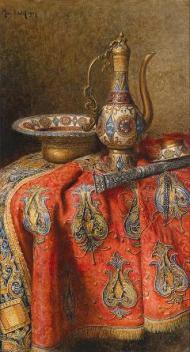 """Narguile (""""Stillleben mit orientalischen Antiquitäten"""" 1907, óleo de Max Schödl)."""