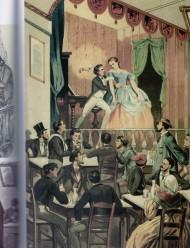 """Escena de un café cantante. Dibujo de E. Planas publicado en """"Barcelona y sus misterios"""", de Antonio Altadill, Barcelona, 1860. Tomada de """"La ciutat dels cafés"""", Paco Villar, 2008."""