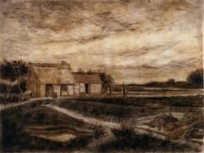 """""""Granero con tejado"""" (1881), dibujo de Vincent van Gogh. En mi imaginación, la huerta de Vicent y Maria."""