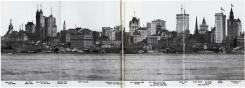 Horizonte del distrito financiero del bajo Manhattan mirando hacia el este desde el río Hudson. Abril de 1900.
