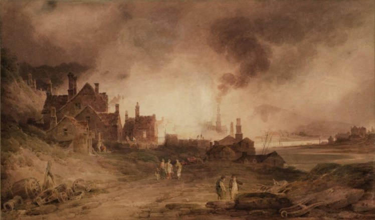 Bedlam Furnace, Madeley Dale, Shropshire 1803 by Paul Sandby Munn 1773-1845