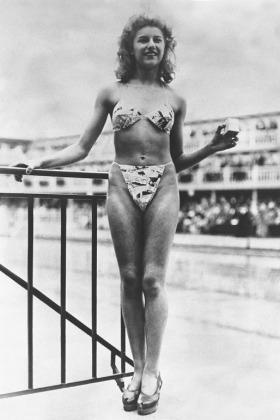 Woman Modeling the First Bikini