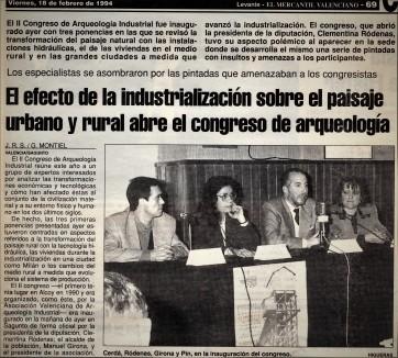 Noticia sobre el II Congreso de Arqueología Industrial (diario 'Levante', 18 de febrero de 1994).