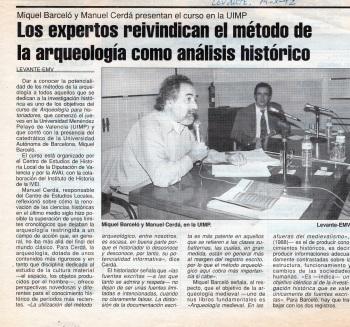 Noticia sobre la celebración del curso 'Arqueología para historiadores' (19 de octubre de 1992).