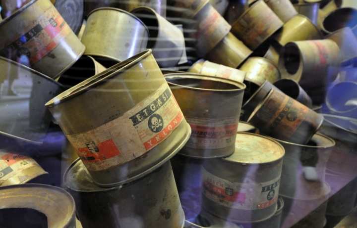 Used Zyklon B canisters in Auschwitz museum